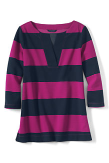 Women's Three Quarter Sleeve Split Neck Stripe Tunic
