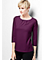 Women's Regular Three Quarter Sleeve Ponte Pleat Neck Blouse