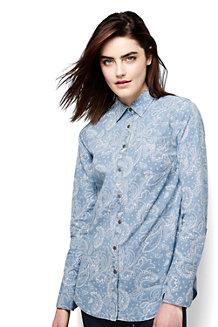 Women's Faded Indigo Paisley Print Chambray Shirt