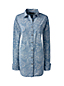 Women's Regular Faded Indigo Paisley Print Chambray Shirt