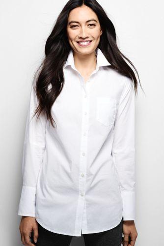 Women's Regular Long White Poplin Shirt