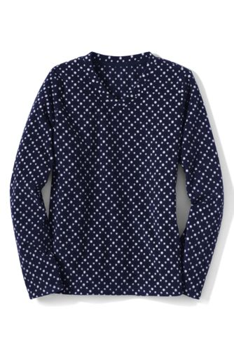 Women's Regular Everyday Print Fleece 100 V-neck Jumper
