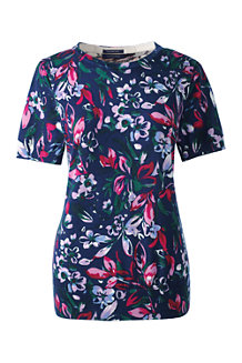 Women's Supima®Floral Print Short Sleeve Jewelneck Jumper