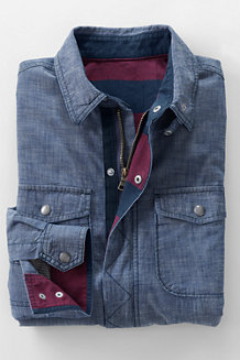 Men's Flannel-lined Chambray Shirt Jacket