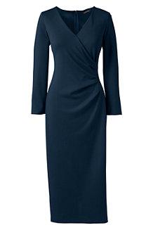 La Robe Effet Portefeuille Manches 3/4, Femme Stature Standard