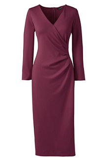 Women's Ponte Jersey Tucked Wrap Dress