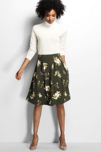 Women's Regular Printed Ponte Jersey A-line Skirt