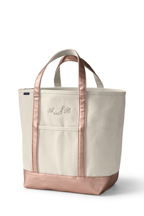 Large Natural Metallic Open Top Canvas Tote Bag