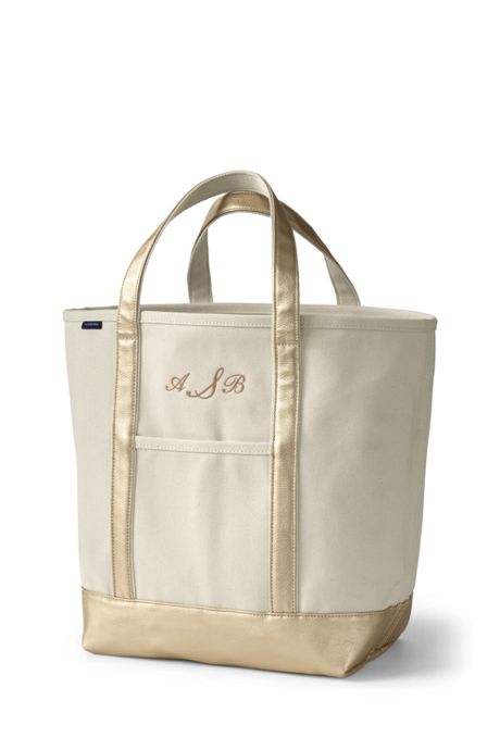 Large Natural Rose Gold Open Top Canvas Tote Bag