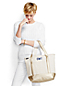 Medium Natural/Metallic Gold Open Top Canvas Tote