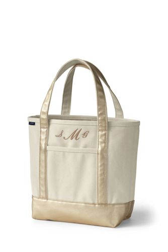 Natural & Gold Canvas Tote Collection from Lands' End