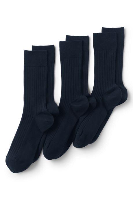 Men's Seamless Toe Cotton Rib Dress Socks 3 Pack