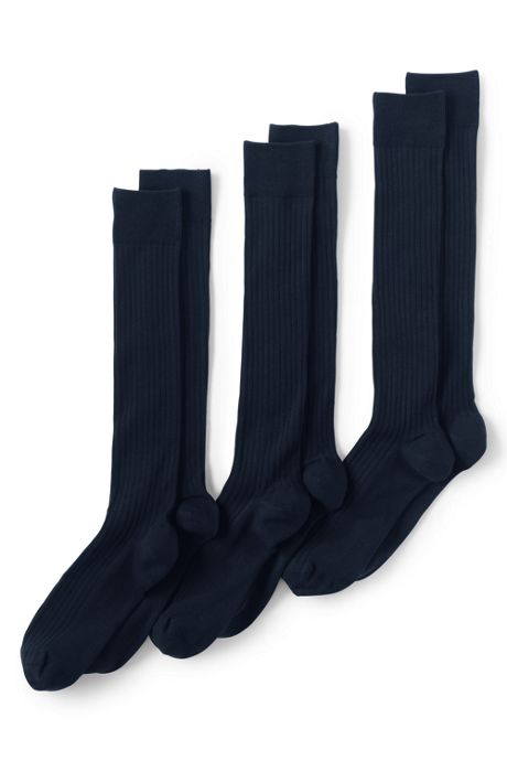 Men's Seamless Toe Over The Calf Cotton Rib Dress Socks (3-pack)