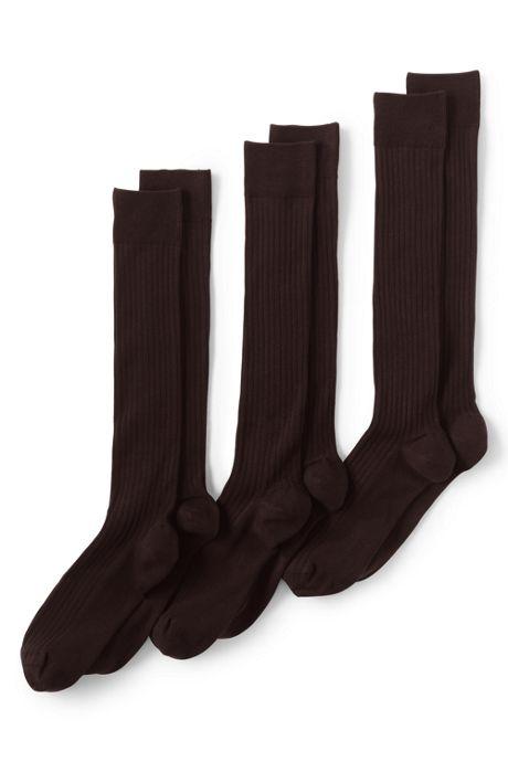 Men's Seamless Toe Over the Calf Cotton Rib Dress Socks 3-Pack