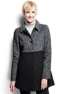 Women's Melange Boiled Wool Blend Coat