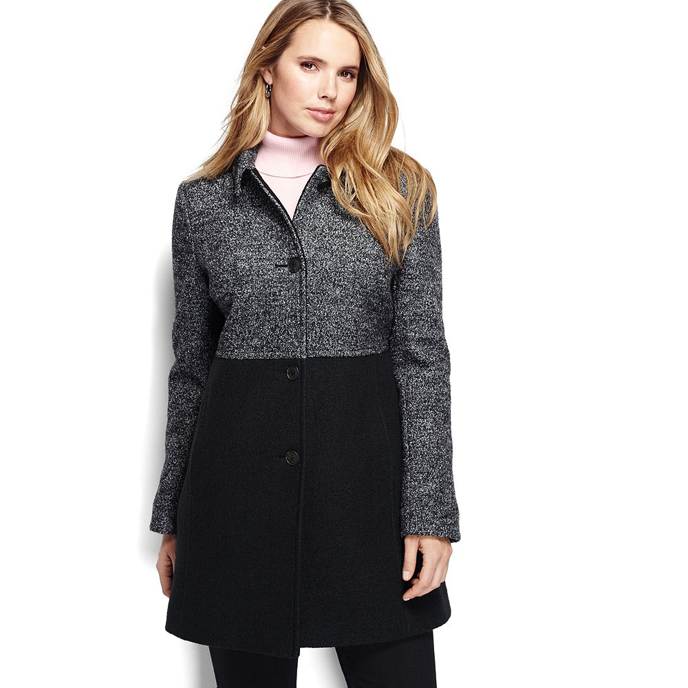 Lands' End Women's Plus Size Melange Boiled Wool Coat
