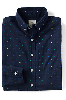 Boys' Dot Pattern Poplin Long Sleeve Shirt