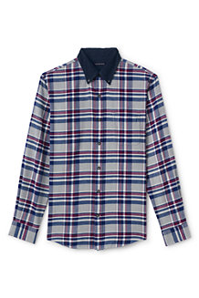 Men's Plaid with Corduroy Collar Flannel Shirt