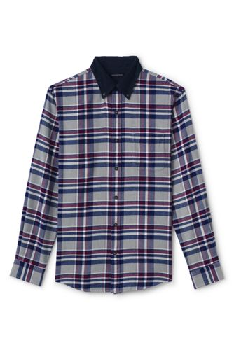 Men's Regular Plaid with Corduroy Collar Flannel Shirt