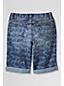 Little Girls' Rolled Up Pattern Denim Bermuda Shorts