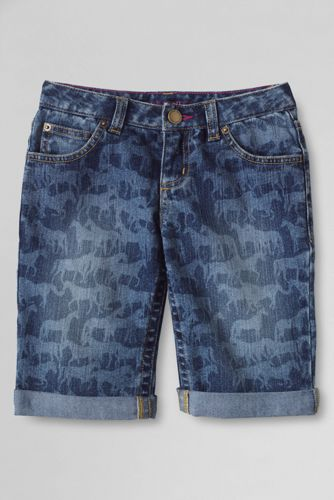 Gemusterte Jeans-Bermudas für kleine Mädchen