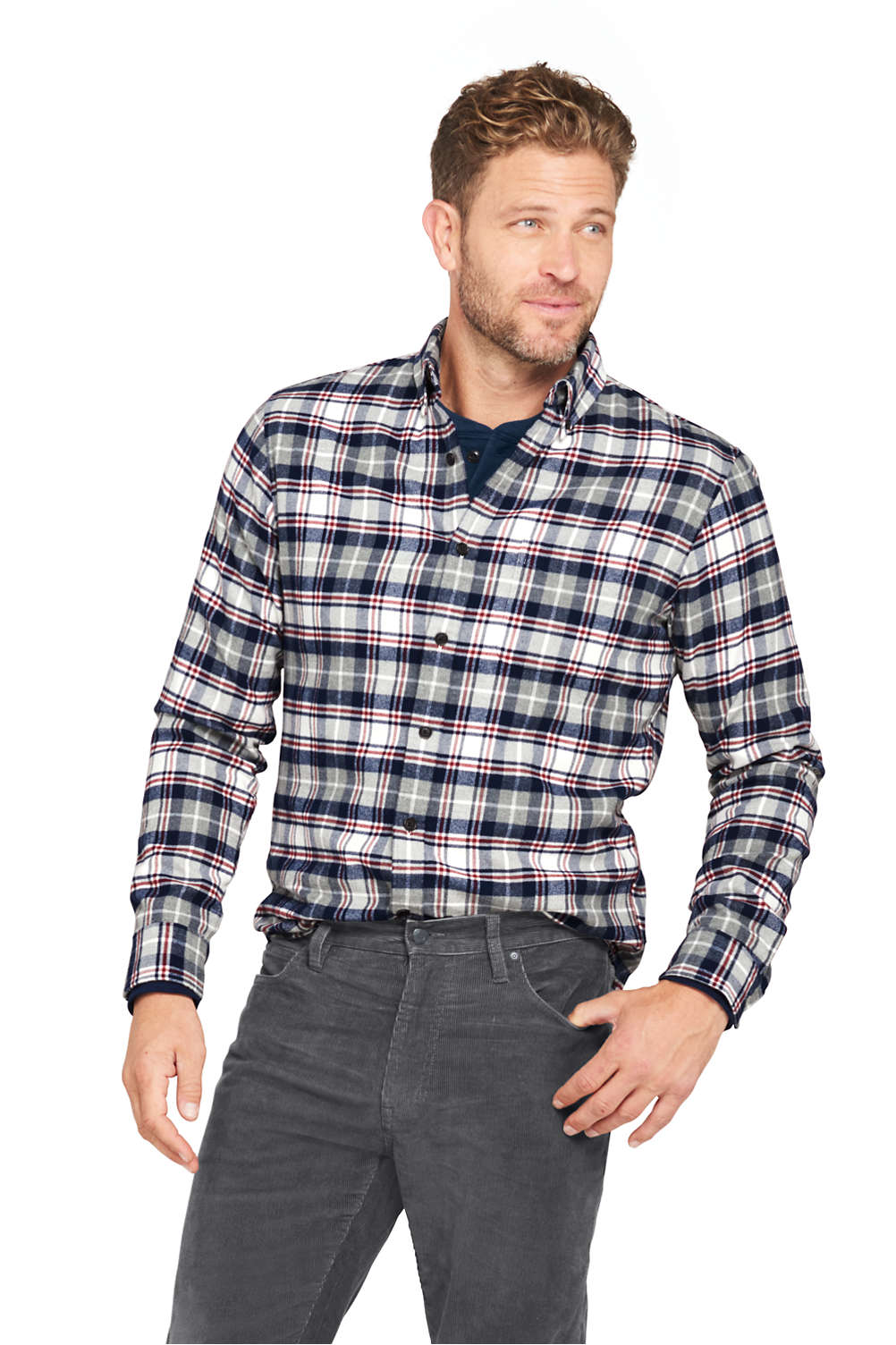 Mens Flagship Flannel Shirt From Lands End