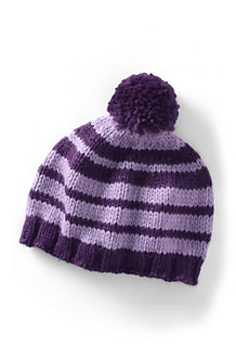 Girls' Stripe Beanie Hat with Pom Pom