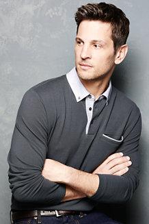Men's Long Sleeve Woven Collar Supima® Piqué Polo