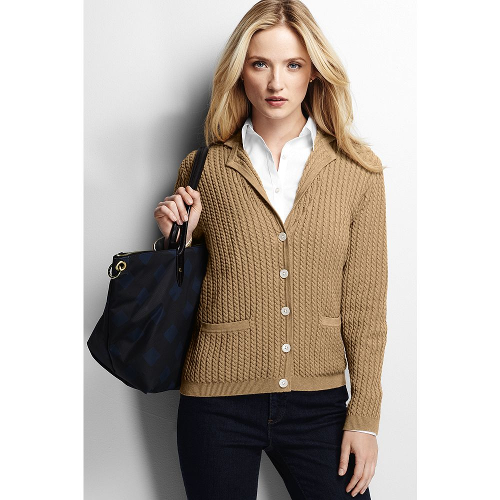Lands' End Women's Petite Cotton Cable Blazer Sweater