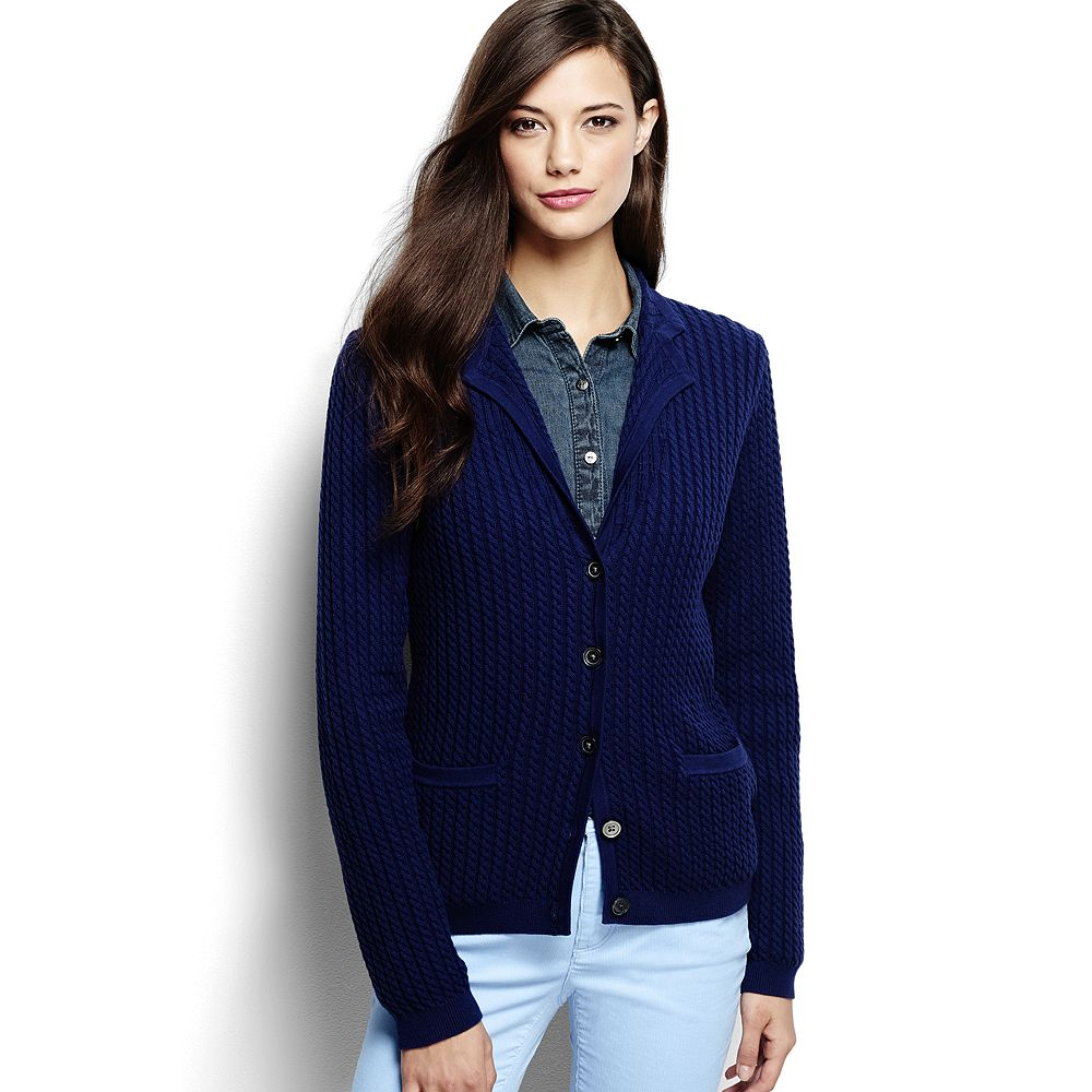 Lands' End Women's Cotton Cable Blazer Sweater
