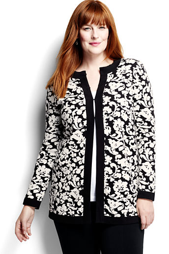 ... Women s Plus Size Cotton Cardigan Sweater - Black Tapestry 136720530
