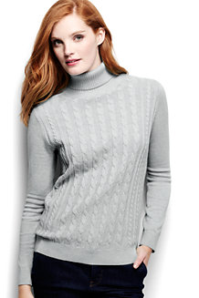 Women's Fine Gauge Roll Neck Cable Tunic