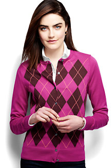 Women's Supima Argyle Cardigan Sweater