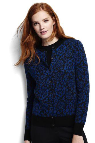 Le Cardigan Supima® Jacquard à Motifs Ras de Cou, Femme Taille Standard