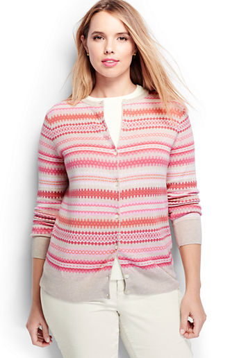 Women s Plus Size Supima Jacquard Cardigan Sweater - Vintage Birch Heath  Fairisle 729b7a691