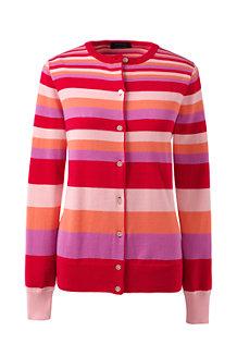 Supima Feinstrick-Cardigan mit Multicolor-Streifen