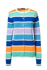 Women's Plus Size Classic Supima Stripe Cardigan Sweater