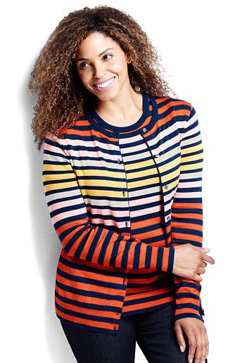 97d5be97ab Women s Plus Size Supima Stripe Cardigan Sweater - Celestial Blue Multi  Stripe