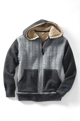 Boys' Cable-quilted Sherpa-lined Hoodie