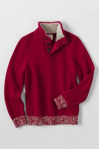 Stehkragen-Pullover mit Teddyfutter für große Jungen