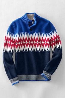 Stehkragen-Pullover mit Knopfverschluss für Jungen