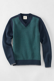 Boys' V-neck Patterned Sweater