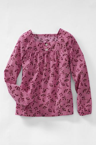 Little Girls' Gathered Yoke Woven Shirt