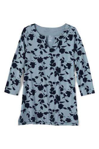 Women's Regular Print Notch Neck Jersey Tunic