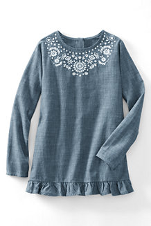 Girls' Embroidered Ruffle Hem Chambray Legging Top
