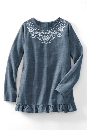 Little Girls' Embroidered Ruffle Hem Chambray Legging Top