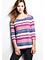 Women's Regular Three Quarter Sleeve Slub Jersey Print Top