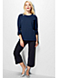 Women's Regular French Terry Roll Sleeve Stripe Jumper