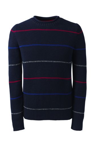 Fein gestreifter Shaker-Pullover mit gerolltem Kragen