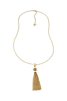 Lange Halskette mit Quasten-Anhänger